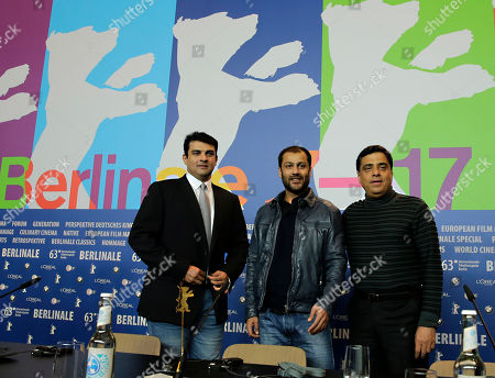 Stock Picture of From right, producer Ronnie Screwvala, director Abhishek Kapoor and producer Siddharth Roy Kapur during the press conference of the film Kai Po Che at the 63rd edition of the Berlinale, International Film Festival in Berlin