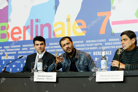 From right, producer Ronnie Screwvala, director Abhishek Kapoor and producer Siddharth Roy Kapur during the press conference of the film Kai Po Che at the 63rd edition of the Berlinale, International Film Festival in Berlin