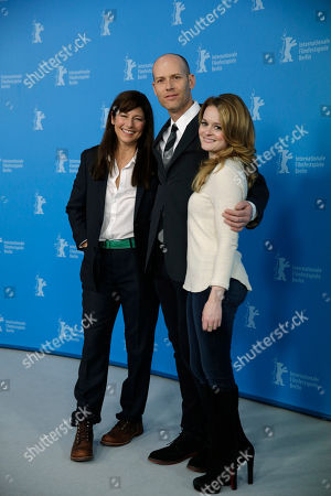 Fallon Goodson, Catherine Keener, Carter Actresses Catherine Keener, left, and Fallon Goodson, right, pose with director Carter at the photo call for the film Maladies at the 63rd edition of the Berlinale, International Film Festival in Berlin