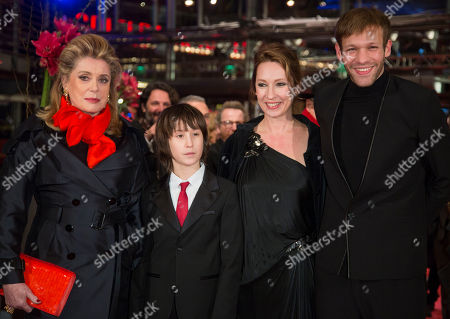 Catherine Deneuve, Paul Hamy, Nemo Schiffman, Emmanuelle Bercot From left actors Catherine Deneuve, Nemo Schiffman, director Emmanuelle Bercot and actor Paul Hamy arrive for the screening of the film On My Way at the 63rd edition of the Berlinale, International Film Festival in Berlin, Germany