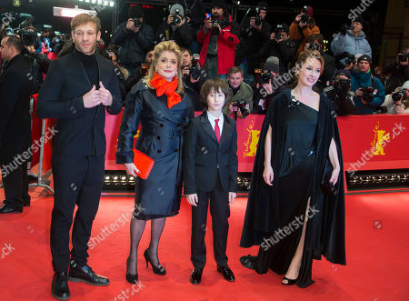Catherine Deneuve, Paul Hamy, Nemo Schiffman, Emmanuelle Bercot From left actors Paul Hamy, Catherine Deneuve, Nemo Schiffman and director Emmanuelle Bercot arrive for the screening of the film On My Way at the 63rd edition of the Berlinale, International Film Festival in Berlin, Germany