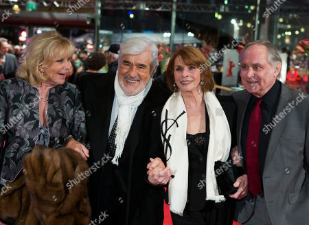 Monique Adorf, Mario Adorf, Senta Berger and her husband Michael Verhoeven, from left, arrive for the opening ceremony at the 63rd edition of the Berlinale, International Film Festival in Berlin, Germany