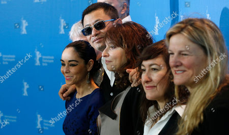 From left jury members Shirin Neshat, jury president Wong Kar Wai, Susanne Bier, Athina Rachel Tsangari and Ellen Kuras pose at the photo call during the jury press conference at the 63rd edition of the Berlinale, International Film Festival in Berlin
