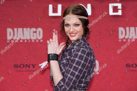 """Stock Image of Isabella Vinet Isabella Vinet arrives for the German premiere of the movie """"Django Unchained"""" in Berlin, Germany"""