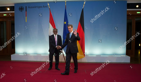Guido Westerwelle, Ali Karti German Foreign Minister Guido Westerwelle, right, welcomes his counterpart from Sudan Ali Karti for bilateral talks prior to a German-Sudan economic conference in Berlin, Germany
