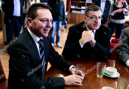 Yannis Stournaras, Steven Vanackere Greek Finance Ministrer Yannis Stournaras, left, meets with his Belgian counterpart Steven Vanackere at the Ministry of Finance, in Athens
