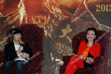 """Shu Qi, Stephen Chow Taiwanese actress Shu Qi, right, and Hong Kong director Stephen Chow react during the press conference of their new film """" A Chinese Odyssey """" in Hong Kong"""