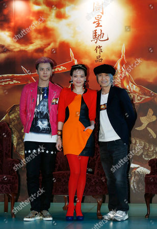 """Shu Qi, Stephen Chow, Show Luo From left, Taiwanese actor Show Luo, actress Shu Qi and Hong Kong director Stephen Chow reacts during a press conference for their new film """"A Chinese Odyssey"""" in Hong Kong"""