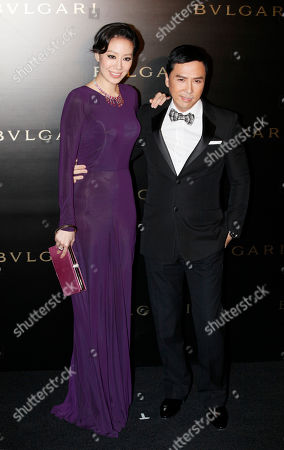 Donnie Yen, Cecilia Cissy Wang Hong Kong actor Donnie Yen poses with his wife Cecilia Cissy Wang for photographers during a promotional event for a jewelry brand in Hong Kong