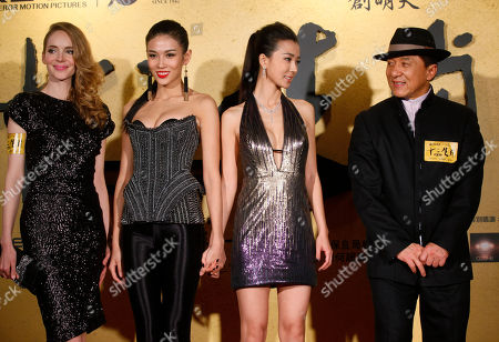 """Laure Weissbecker, Jackie Chan, Zhang Lanxin, Yao Xingtong From left, French actress Laure Weissbecker, Chinese actresses Zhang Lanxin and Yao Xingtong and Hong Kong movie star Jackie Chan pose for photographers during the charity premiere of his new movie """"CZ12"""" in Hong Kong . Jackie Chan suggests in a recent interview that protests should be restricted in the freewheeling Chinese city of Hong Kong. The action star lamented that Hong Kong has become a city of protest, where people """"scold China, scold the leaders, scold anything, protest against anything"""