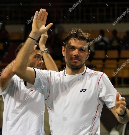 Stanislas Wawrinka, Benoît Paire Switzerland's Stanislas Wawrinka, right, and Benoît Paire of France celebrate after winning the doubles final match against Germany's Andre Begemann and Martin Emmrich at the ATP Chennai Open tennis tournament in Chennai, India