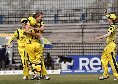 Holly Ferling Australia's Holly Ferling, second left facing camera, celebrates with teammates the dismissal of Pakistan's Sidra Ameen, unseen, during the ICC Women's World Cup cricket match between them in Cuttack, India, . Australia won the match by 92 runs