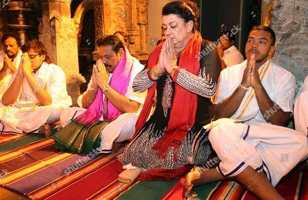 Mahinda Rajapaksa Sri Lankan President Mahinda Rajapaksa, center, along with his wife Shiranthi Rajapaksa offer prayers at the Lord Venkateswara temple at Tirumala near Tirupati, India, . Tamils in various parts of the country protested Rajapaksa's two-day personal visit to religious places of worship in India