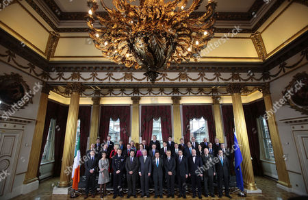 EU Defence Ministers stand for a family photograph in Dublin Castle, Ireland, . The working sessions of the meeting is to cover all topics related to the Common Security and Defence Policy and point the way forward for the direction of topics within CSDP. Among those attending this meeting are the UN Under Secretary General of the Department of Peacekeeping Operations and also NATO Secretary General Anders Fogh Rasmussen, names front row from left, Walter Stevens, CMPD, Claude France Arnould, EDA, General Patrick de Rousiers, EUMC, Louis Telemachou, Cyprus Ambassador to the EU's Political and Security Committee, Sec General Herve Ladsous UN, Alan Shatter, Minister for Defence, Maciej Popowski, EEAS, Andres Fogh Ramussen,Sec General of NATO, Juozas Olekas, Lithuania Minister for Defence, Lt. General Ton Van Osch, EUMS and Daniel Calleja, Crespo, European Commission, middle row from left, Janis Sarts, Latvia State Secretary, Patrick Engelberg, Luxembourg Defence Director, Jeanine Hennis-Plasschaert, Netherlands Minister of Defence, Robert Kupiecki, Poland's Undersecretary of State for Defence Policy, Graca Mira Gomes, Portugal's Ambassador to PSC, Sebastian Haluban, Romania's State Secretary for Defence, Milos Koterec, Slovakia's President of the Economic and Social Council of the United Nations, Ales Hojs, Slovenia's Minister for Defence, Alejandro Alvagonzalez San Martin, Spain's Secretary General for Defence Policy, Karin Enstrom, Sweden's Minister for Defence and Dr Andrew, Murrison, United Kingdom Minister for International Security Strategy. Back row from left, Norbert Darabos, Austria's Minister for Defence, Pieter de Crem, Belgium's Minister of Defence, Avgustina Tzvetkova, Bulgaria's Deputy Minister of Defence, Visnja Tafra, Croatia's Deputy Defence Minister, Dr. Godwin Grima, Malta's Principal Permanent Secretary, Vlastimil Picek, Czech Republic's First Deputy Minister of Defence, Nick Haekerup, Denmark's Minister of Defence, Urmas Reinsalu, Estonia's Minist