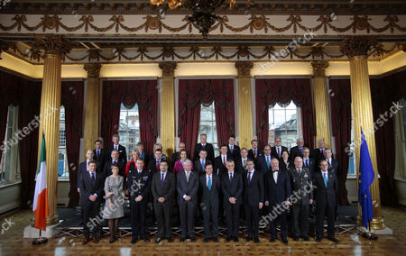 EU Defence Ministers stand for a family photograph in Dublin Castle, Ireland, . The working sessions of the meeting is to cover all topics related to the Common Security and Defence Policy and point the way forward for the direction of topics within CSDP. Among those Attending this meeting are the UN Under Secretary General of the Department of Peacekeeping Operations and also NATO Secretary General Anders Fogh Rasmussen, names front row from left, Walter Stevens, CMPD, Claude France Arnould, EDA, General Patrick de Rousiers, EUMC, Louis Telemachou, Cyprus Ambassador to the Eu's Political and Security Committee, Sec General Herve Ladsous UN, Mr Alan Shatter, Minister for Defence, Maciej Popowski, EEAS, Andres Fogh Ramussen,Sec General of NATO, Juozas Olekas, Lithuania Minister for Defence, Lt. General Ton Van Osch, EUMS and Daniel Calleja, Crespo, European Commission, middle row from left, Janis Sarts, Latvia State Secretary, Patrick Engelberg, Luxembourg Defence Director, Jeanine Hennis-Plasschaert, Netherlands Minister of Defence, Robert Kupiecki, Poland's Undersecretary of State for Defence Policy, Graca Mira Gomes, Portugal's Ambassador to PSC, Sebastian Haluban, Romania's State Secretary for Defence, Milos Koterec, Slovakia's President of the Economic and Social Council of the United Nations, Ales Hojs, Slovenia's Minister for Defence, Alejandro Alvagonzalez San Martin, Spain's Secretary General for Defence Policy, Karin Enstrom, Sweden's Minister for Defence and Dr Andrew, Murrison, United Kingdom Minister for International Security Strategy. Back row from left, Norbert Darabos, Austria's Minister for Defence, Pieter de Crem, Belgium's Minister of Defence, Avgustina Tzvetkova, Bulgaria's Deputy Minister of Defence, Visnja Tafra, Croatia's Deputy Defence Minister, Dr. Godwin Grima, Malta's Principal Permanent Secretary, Vlastimil Picek, Czech Republic's First Deputy Minister of Defence, Nick Haekerup, Denmark's Minister of Defence, Urmas Reinsalu, Estonia's Min