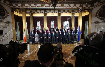 EU Defence Ministers stand for a group photograph in Dublin Castle, Ireland, . The working sessions of the meeting is to cover all topics related to the Common Security and Defence Policy and point the way forward for the direction of topics within CSDP. Among those attending this meeting are the UN Under Secretary General of the Department of Peacekeeping Operations and also NATO Secretary General Anders Fogh Rasmussen. From left, front row, Walter Stevens, CMPD, Claude France Arnould, EDA, General Patrick de Rousiers, EUMC, Louis Telemachou, Cyprus Ambassador to the EU's Political and Security Committee, Sec General Herve Ladsous UN, Mr Alan Shatter, Minister for Defence, Maciej Popowski, EEAS, Andres Fogh Ramussen,Sec General of NATO, Juozas Olekas, Lithuania Minister for Defence, Lt. General Ton Van Osch, EUMS and Daniel Calleja, Crespo, European Commission, middle row from left, Janis Sarts, Lativia State Secretary, Patrick Engelberg, Luxembourg Defence Director, Jeanine Hennis-Plasschaert, Netherlands Minister of Defence, Robert Kupiecki, Poland's Undersecretary of State for Defence Policy, Graca Mira Gomes, Portugal's Ambassador to PSC, Sebastian Haluban, Romania's State Secretary for Defence, Milos Koterec, Slovakia's President of the Economic and Social Council of the United Nations, Ales Hojs, Slovenia's Minister for Defence, Alejandro Alvagonzalez San Martin, Spain's Secretary General for Defence Policy, Karin Enstrom, Sweden's Minister for Defence and Dr Andrew, Murrison, United Kingdom Minister for International Security Strategy. Back row from left, Norbert Darabos, Austria's Minister for Defence, Pieter de Crem, Belgium's Minister of Defence, Avgustina Tzvetkova, Bulgaria's Deputy Minister of Defence, Visnja Tafra, Croatia's Deputy Defence Minister, Dr. Godwin Grima, Malta's Principal Permanent Secretary, Vlastimil Picek, Czech Republic's First Deputy Minister of Defence, Nick Haekerup, Denmark's Minister of Defence, Urmas Reinsalu, Estonia's Minister