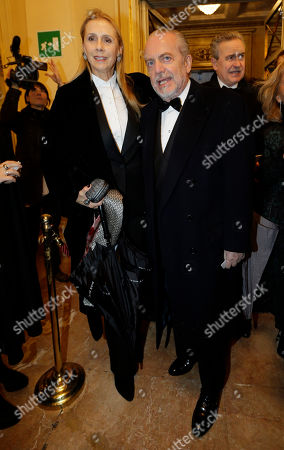 "Aurelio De Laurentis and his wife Jaqueline Baudit arrive at the Milan La Scala theater, Italy, . The famed La Scala opera house inaugurates its 2012-13 season Friday with the Teutonic classic ""Lohengrin"" as it launches dual bicentennial celebrations of its own Giuseppe Verdi and German icon Richard Wagner. Daniel Barenboim, La Scala's music director and a Wagner aficionado, conducts the gala season opener, one of the premier events on the European cultural calendar"
