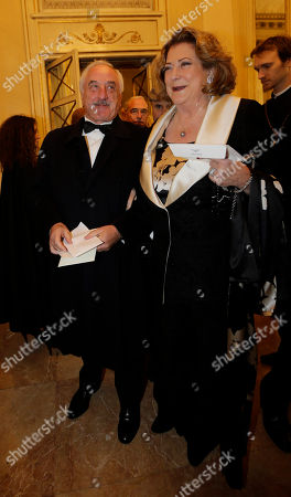 "Bombassei and Diana Bracco arrive at the Milan La Scala theater, Italy, . The famed La Scala opera house inaugurates its 2012-13 season Friday with the Teutonic classic ""Lohengrin"" as it launches dual bicentennial celebrations of its own Giuseppe Verdi and German icon Richard Wagner. Daniel Barenboim, La Scala's music director and a Wagner aficionado, conducts the gala season opener, one of the premier events on the European cultural calendar"