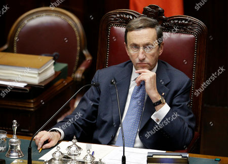 Lower Chamber President Gianfranco Fini looks on prior to a confidence vote at the Lower Chamber, in Rome