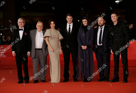 Members of the Rome Film Festival Official jury, from left, Chris Fujiwara, Edgardo Cozarinsky, Valentina Cervi, Jeff Nichols, Leila Hatami, Timur Bekmambetov and Paul John Hogan arrive for the opening ceremony of the 7th edition of the Rome International Film Festival in Rome