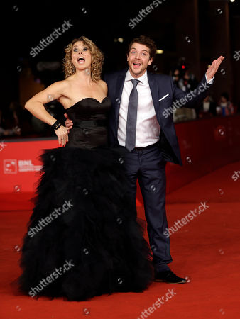 "Actress Anne Louise Hassing, left and actor Ramsey Nasr, pose for photographers as they arrive for the screening of his movie ""Goltzius and the Pelican Company"" at the 7th edition of the Rome International Film Festival in Rome"