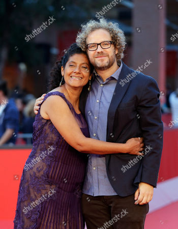 """Stock Photo of Margarita Saldana, Enrique Rivero Actress Margarita Saldana, left, and director Enrique Rivero pose for photographers as they arrive to present their movie """"Mai Morire"""" at the 7th edition of the Rome International Film Festival in Rome"""