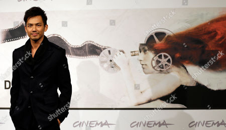 """Actor Wallace Chung poses at the presentation of the movie """"Duzhan"""" at the 7th edition of the Rome International Film Festival in Rome"""