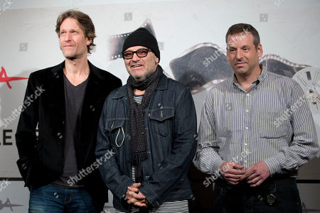 "Stock Photo of Michael Laurence, Amos Poe, Brian Fass From left, actor Michael Laurence, director Amos Poe, and cinematographer Brian Fass pose during the photo call of the movie ""A Walk in the Park"" at the Rome Film Festival, in Rome"