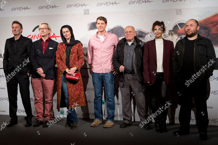 Stock Photo of Paul John Hogan, Chris Fujiwara, Leila Hatami, Jeff Nichols, Edgardo Cozarinsky, Valentina Cervi, Timur Bekmambetov Members of the Rome Film Festival Official jury, from left, Paul John Hogan, Chris Fujiwara, Leila Hatami, Jeff Nichols, Edgardo Cozarinsky, Valentina Cervi and Timur Bekmambetov, pose during a photo call at the Rome Film Festival, in Rome