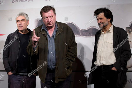 """Pedro Costa, Aki Kaurismaki, Victor Erice From left, directors Pedro Costa, Aki Kaurismaki and Victor Erice pose during the photo call of the movie """"Centro Historico"""", presented at the Rome Film Festival, in Rome"""
