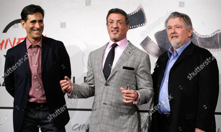 """Sylvester Stallone, Walter Hill, Alessandro Camon From left, writer Alessandro Camon, actor Sylvester Stallone and director Walter Hill pose during the photo call of the movie """"Bullet to the Head"""" at the 7th edition of the Rome International Film Festival in Rome"""