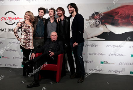 "Director Peter Greenaway, sitting, poses with, from left, actress Anne Louise Hassing, actors Flavio Parenti, Ramsey Nasr, Stefano Scherini, and Giulio Berruti during a photocall presenting his movie ""Goltzius and the Pelican Company"" during the 7th edition of the Rome International Film Festival in Rome"