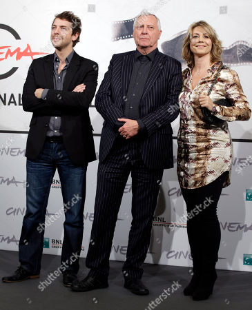"From left actor Ramsey Nasr, Director Peter Greenaway, and actress Anne Louise Hassing pose during a photocall presenting their movie ""Goltzius and the Pelican Company"" during the 7th edition of the Rome International Film Festival in Rome"