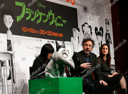 "Tim Burton, Allison Abbate Film director Tim Burton, second from right, speaks at a press conference for his Disney film ""Frankenweenie"" as producer Allison Abbate listens in Tokyo, . ""Frankenweenie"" is a stop-motion animated film, filmed in black and white and rendered in 3D"