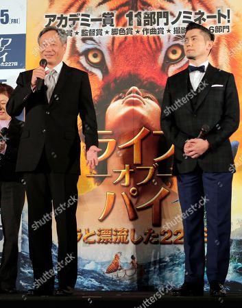 "Ang Lee, Masahiro Motoki Director Ang Lee, left, speaks as Japanese actor Masahiro Motoki listens during the Japan premiere of Lee's 3D film ""Life of Pi"" in Tokyo, . The film will be released in Japan on Jan. 25"