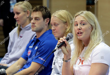 Liam Tancock, Inge Dekker, Jeanette Ottesen Gray, Jessica Hardy Jeanette Ottesen Gray of Denmark speaks as other swimmers, from left, Jessica Hardy of the United states, Liam Tancock of Britain, and Inge Dekker of the Netherlands, listen during a press conference of FINA Swimming World Cup in Tokyo . The two-day swimming meets start Tuesday, Nov. 6