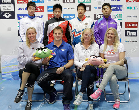 Liam Tancock, Inge Dekker, Jeanette Ottesen Gray, Jessica Hardy, Kousuke Hagino, Akihiro Yamaguchi, Daiya Seto, Norimasa Hirai Swimmers, front row from left, Jessica Hardy of the United States, Liam Tancoc of Britian, Inge Dekker of the Netherlands and Jeanette Ottesen Gray of Denmark, rear from left, Japanese Swimmers, Kousuke Hagino, Akihiro Yamaguchi, Daiya Seto, and coach Norimasa Hirai pose for a group photo during a press conference of the FINA Swimming World Cup World Cup in Tokyo, . The two-day swimming meets start Tuesday, Nov. 6