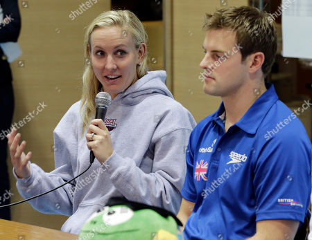 Liam Tancock, Inge Dekker, Jeanette Ottesen Gray, Jessica Hardy Jessica Hardy, left, of the United states, speaks as Liam Tancock of Britain listens during a press conference of FINA Swimming World Cup in Tokyo . The two-day swimming meets start Tuesday, Nov. 6
