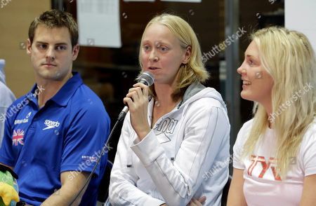 Liam Tancock, Inge Dekker, Jeanette Ottesen Gray Inge Dekker of the Netherlands speaks as Britain's Liam Tancock, left, and Jeanette Ottesen Gray of Denmark during a press conference of FINA Swimming World Cup in Tokyo . The two-day swimming meets start Tuesday, Nov. 6