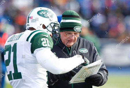 Mike Westhoff, John Griffin New York Jets' special teams coordinator Mike Westhoff speaks with John Griffin (21) during the first half of an NFL football game against the Buffalo Bills, in Orchard Park, N.Y