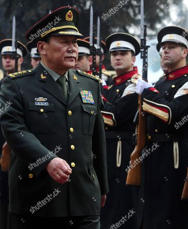 Liang Guanglie Minister of National Defense of People's Republic of China and State Chancellor, General Liang Guanglie, walks beside an honor guard squad upon his arrival at the Macedonian Ministry of Defense in the capital Skopje, on . This is the first visit of a Chinese Defense Minister to Macedonia