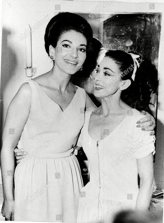 Fonteyn Callas Opera singer Maria Callas, left, visits prima ballerina Margot Fonteyn after a royal ballet performance, June 1966, at the Herod Atticus Theater in Athens, Greece