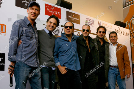 """Stock Photo of Mexican producer Alex Garcia and actor Kuno Becker pose for photos with fellow Colombian cast members, actor Julian Arango, from third left to right, actor Diego Cadavid, actor and producer Manolo Cardona, and actor Robinson Diaz at a joint press conference to promote their new film, """"El Cartel de los Sapos,"""" in Mexico City, . Based on the namesake TV series, the movie is about 10 members of one of the most dangerous Colombian cartels, Norte del Valle Cartel or North Valley Cartel"""