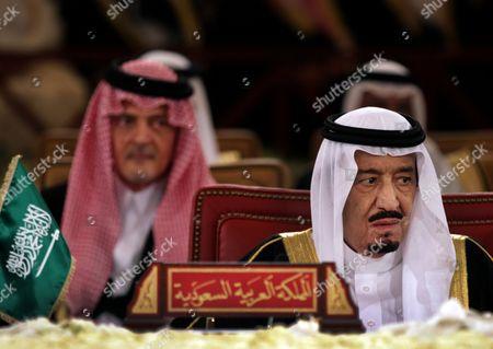 Stock Photo of Saudi Crown Prince Salam bin Abdul Aziz Al Saud, right, and Saudi Foreign Minister Prince Saud Al Faisal, left, attend Gulf Cooperation Council GCC summit in Sekhir, Bahrain