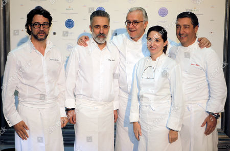 Alain Ducasse French chef Alain Ducasse, center, poses with Spanish chefs, left to right, Quique Dacosta, Sergi Arola, Elena Arzak and Joan Roca as Ducasse celebrates the 25th anniversary of his restaurant Le Louis XV in Monte Carlo, in Monaco. Alain Ducasse aspired to invite the greatest chefs.Thus, 240 chefs from 25 countries, representing 5 continents and 300 stars from the Michelin Guide meet in Monaco, for an unprecedented assembly