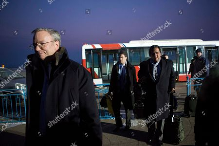 Bill Richardson, Eric Schmidt, Jared Cohen Executive Chairman of Google Eric Schmidt, left, disembarks from an airport transfer bus after arriving at Pyongyang International Airport in Pyongyang, North Korea on . Behind him, from left to right, are Google Ideas think tank director Jared Cohen and former New Mexico Gov. Bill Richardson. Richardson called the trip to North Korea a private humanitarian visit