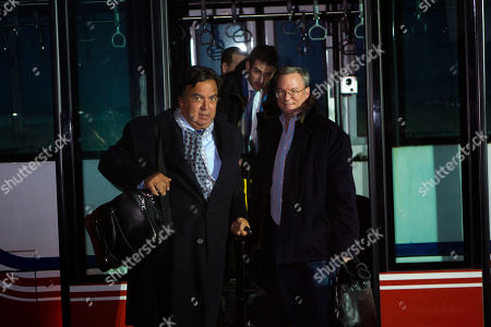 Bill Richardson, Eric Schmidt, Jared Cohen Former New Mexico Gov. Bill Richardson, left, and Executive Chairman of Google, Eric Schmidt, disembark from an airport transfer bus after arriving at Pyongyang International Airport in Pyongyang, North Korea on . Richardson called the trip to North Korea a private humanitarian visit. In the background is Google Ideas think tank director, Jared Cohen
