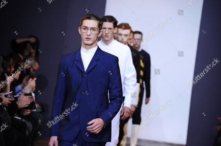 Models present creations by fashion designer Sacha Walckhoff for Christian Lacroix's men's fall-winter 2013/2014 fashion collection, presented in Paris