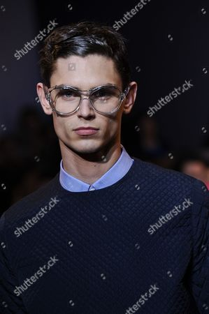 A model presents a creation by fashion designer Sacha Walckhoff for Christian Lacroix's men's fall-winter 2013/2014 fashion collection, presented in Paris