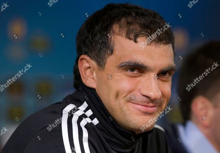 Vladimir Gabulov Anzhi's goalkeeper Vladimir Gabulov smiles during a news conference at Luzhniki stadium, in Moscow, Russia, on . Anzhi will play their Europa League round of 32 soccer match against Hannover 96 on Thursday